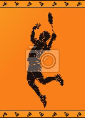 Detaillierte Silhouette eines Badmintonspieler im griechischen Stil