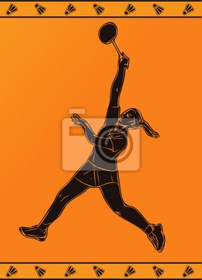 Detaillierte Silhouette Vektor weibliche Badmintonspieler