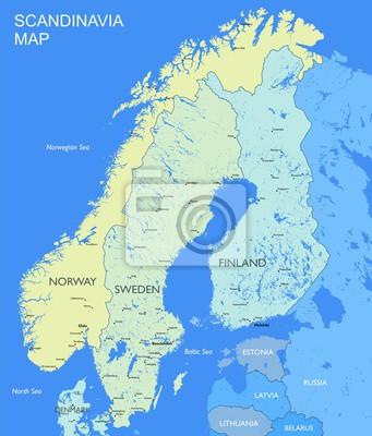 Karte Skandinavien.Fototapete Detaillierte Skandinavien Karte Vector Politischen Skandinavien