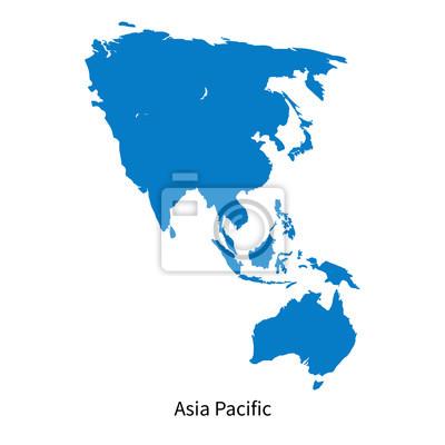 Fototapete Detaillierte Vektor-Karte der Asien-Pazifik-Region