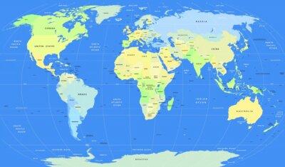 Fototapete Detaillierte Vektor politische Weltkarte