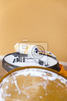 Fototapete Details, Weiße Wandfarbe Und Farbrolle, Handwerk Maler