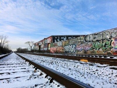 Fototapete Detroit, Michigan Zugbahnen und Schnee - Landschaft Farbfoto