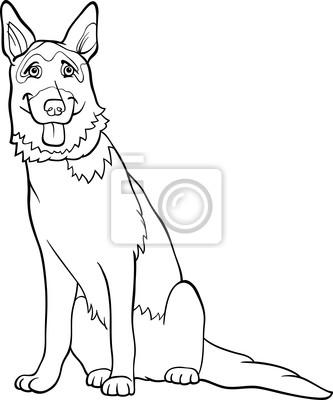 Deutsch schäferhund cartoon zum ausmalen fototapete • fototapeten ...