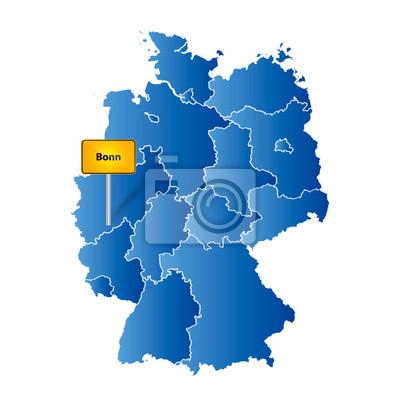 Deutsche Landkarte Mit Ortstafel Markierung Auf Der Deutschen