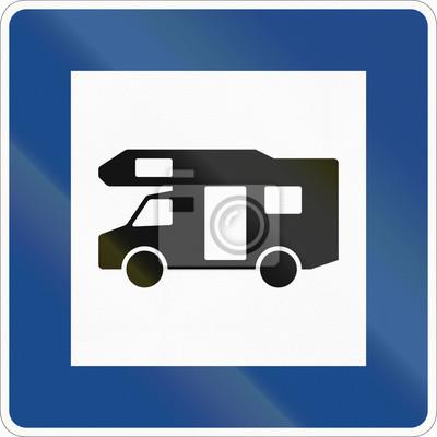 Deutsches Informationsschild zum Service - Caravan Site