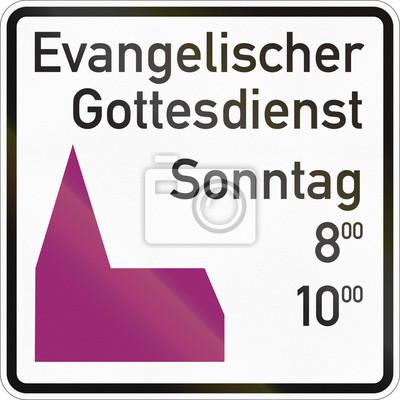 Deutsches Informationsverkehrsschild - protestantischer Service am Sonntag