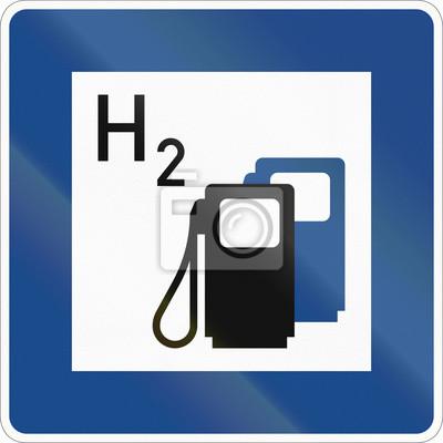 Deutsches Informationszeichen über Service - Tankstelle mit Wasserstoff