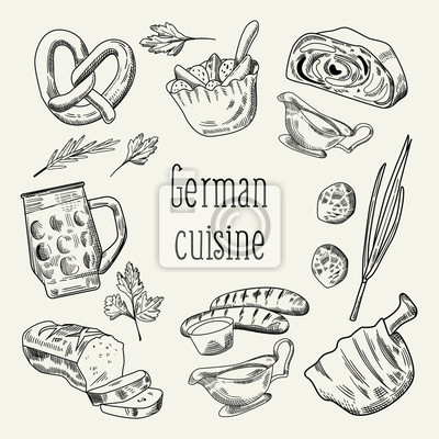 Deutsches traditionelles lebensmittel-hand gezeichnetes entwurfs ...