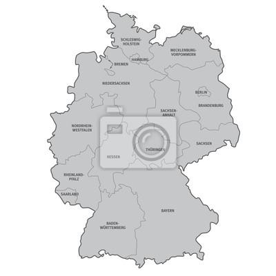 Deutschland Karte Bundesländer Schwarz Weiß.Fototapete Deutschland Bundesländer Beschriftung Karte Vektor