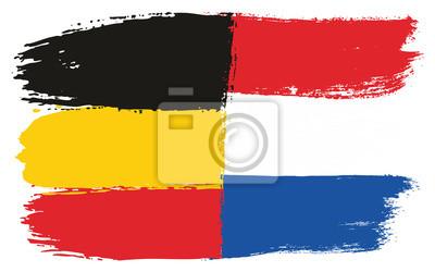 Deutschland Flagge U Niederländischer Flaggen Vektor Handgemalt