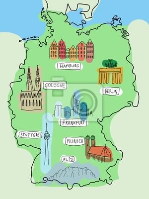 Hamburg Karte Sehenswurdigkeiten.Fototapete Deutschland Karte Mit Sehenswurdigkeiten
