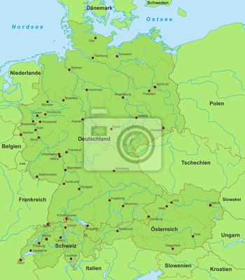 Karte Süddeutschland österreich Schweiz.Fototapete Deutschland österreich Schweiz Karte Detailliert