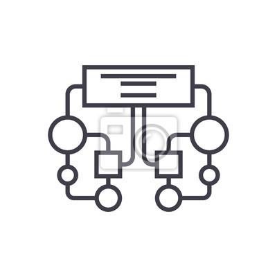 Diagramm, block vektor zeile symbol, zeichen, abbildung auf weißem ...