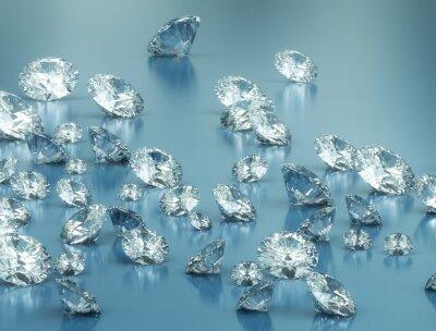 Fototapete Diamanten auf blauem Hintergrund