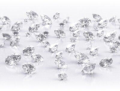 Fototapete Diamanten große Gruppe auf weißem Hintergrund