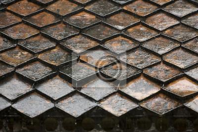 Diamantförmige Dachziegel Nach Einer Schweren Regen Dusche Hat