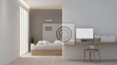 Die 3d-rendering schlafzimmer raum minimal und wanddekoration ...