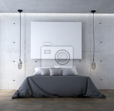 Die 3d rendering szene interieur der beton wand schlafzimmer ...