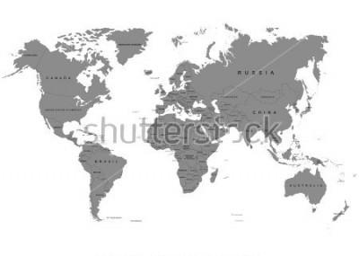 Fototapete Die Erde, Weltkarte auf weißem Hintergrund. Antarktis. Vektor-Illustration