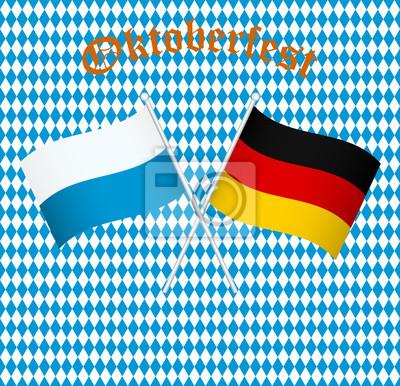 Fototapete: Die flaggen von deutschland und bayern münchen
