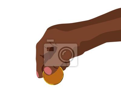 Die Hand, die goldenes Münzenaussehung setzt, wie kryptocurrency sauberes Vektorillustrationsfinanzgeldkonzept lokalisierte weißen Hintergrund