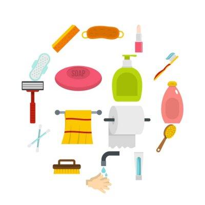 Die Hygienewerkzeugikonen, die in flache Art eingestellt wurden, lokalisierten Vektorillustration