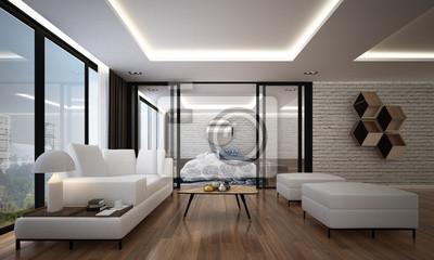 Fototapete Die Innen 3D Rendering Design Von Modernen Luxus Wohnzimmer Und  Schlafzimmer