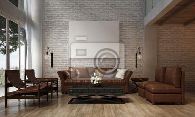 Fototapete Die Innenarchitektur Von Lounge Und Wohnzimmer Und Sofa Set Und  Backstein Wand Textur /