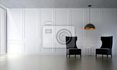 Fototapete Die Innenarchitektur Von Luxus Wohnzimmer Und Weiße Wand