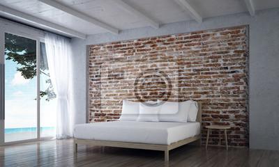 Die innenarchitektur von minimalen schlafzimmer und ziegel textur ...