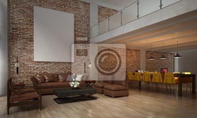 Fototapete Die Innenarchitektur Von Wohnzimmer Und Sofa Set Und Esszimmer  Und Mauer Textur / 3D