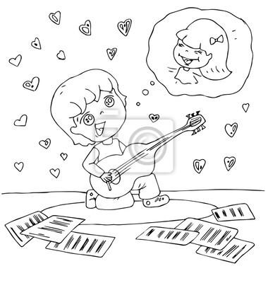 Fototapete Die Kinder Kindergarten Spielen Musikinstrumente Hand Gezeichnete Kontur Fur Farbung Auf Dem Weissen Hintergrund Isoliert