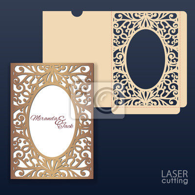 Wedding Card Envelope Template | Die Laser Cut Wedding Card Vector Template Invitation Envelope