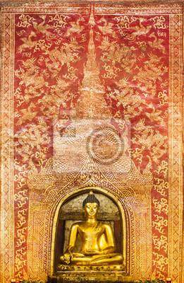 Die Main-Buddha mit goldenen Thai Muster backgroung