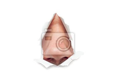 Fototapete Die menschliche Nase ragt durch ein Loch