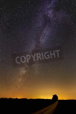 Fototapete Die Milchstraße Galaxy Malt Den Nachthimmel über Eine Landstraße