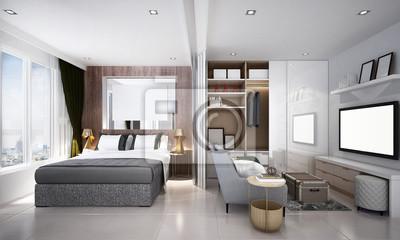 Die moderne kleine wohnzimmer und schlafzimmer innenarchitektur ...