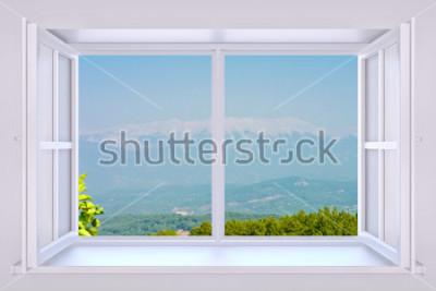 Fototapete Die Natur hinter einem Fenster 3d übertragen mit eingefügtem Foto