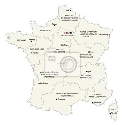 Frankreich Karte Regionen.Fototapete Die Neuen Regionen Von Frankreich Seit Der Karte