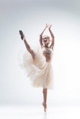 Fototapete Die Silhouette der Ballerina auf weißem Hintergrund