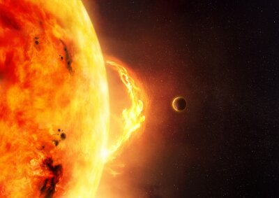 Fototapete Die Sonne - Sonneneruption. Eine Abbildung der Sonne und des Sonnenaufflackerns mit einem Planeten, zum der Größe der Aufflackerung Skala zu geben.