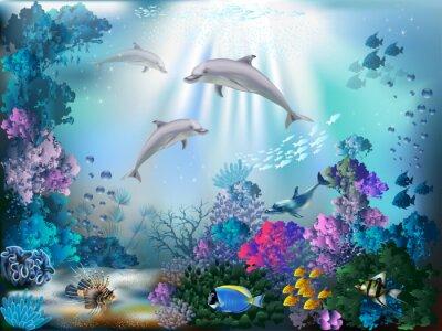 Fototapete Die Unterwasserwelt mit Delphinen und Pflanzen