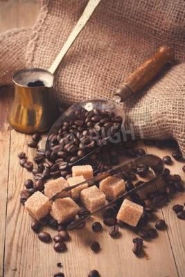 Fototapete Die Zutaten und Utensilien für die Herstellung von Kaffee