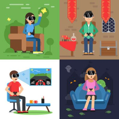 Fototapete Different concept pictures of funny people in helmet of vr playing in games. Vector virtual reality device headset, helmet for game vr illustration