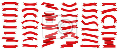 Fototapete Different red ribbons banners collection. Vector illustration