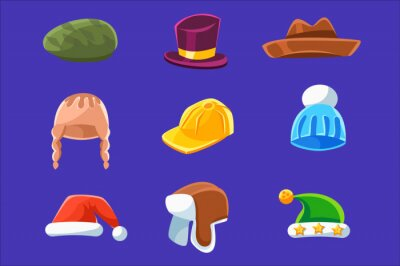 Different Types Of Hats And Caps, Warm Classy For Kids Adults Set Cartoon Colorful Vector Clothing Items