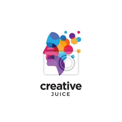 Fototapete Digital Abstract human head logo for creative