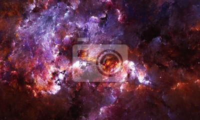 Fototapete Digital abstrakte Malerei eines Galaxie-Nebelflecks mit Sternen im Raum.