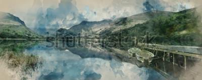 Fototapete Digital-Aquarell von Panoramalandschaftsruderbooten auf See mit Anlegestelle gegen Gebirgszughintergrund